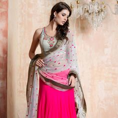 Dark #Pink Net Readymade #Lehenga Choli with Dupatta
