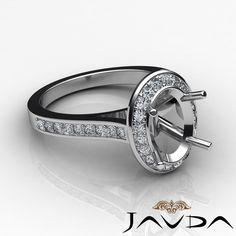 Diamond Engagement Ring 0 70ct 14k w Gold Oval Shape Semi Mount Halo Pave Set | eBay