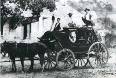 Stagecoach making a stop at The Bryson Stop (in what is current day Liberty Hill, TX) in the 1850's. Quite a crew!