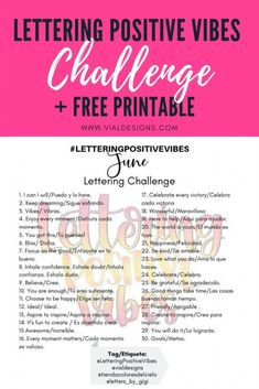 Lettering Positive Vibes Challenge | Lettering Challenge | 30 Day calligraphy challenge to help you practice and improve your lettering #calligraphychallenge #calligraphypractice #moderncalligraphy #handlettering