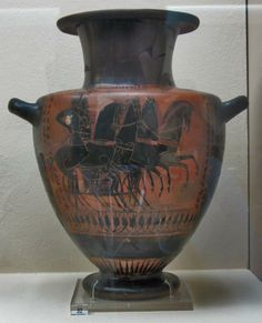 Hydria with a depiction of a four-horse chariot, a charioteer and a hoplite, with a battle scene on the shoulder (workshop of the Lysippides Painter), from an offering pit (530-520 BC), Museum of Kerameikos, Athens