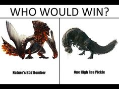 The pickle always wins Monster Hunter Memes, Monster Hunter World, Cry Anime, Anime Art, Fantasy Creatures, Mythical Creatures, Monster Hunter Rathalos, Funny Dragon, Cartoon As Anime