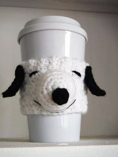 Free Crochet Snoopy Coffee Cup Cozy Pattern at The Enchanted Ladybug Crochet Coffee Cozy, Coffee Cup Cozy, Crochet Cozy, Free Crochet, Coffee Cups, Coffee Drinks, Snoopy, Crochet Phone Cases, Cozy Cover
