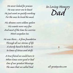 Well said ... but, some parts I would have to change for my Dad ... hehe  Miss you