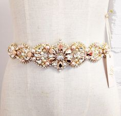 Custom Rose Gold and Blush Crystal Bridal Belt- Swarovski Crystal Bridal Sash- One-of-a-Kind Hand-Beaded -Vintage Glamour