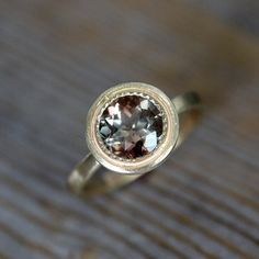 Size 8 Yellow Gold and Oregon Sunstone Halo Ring, Vintage Inspired Milgrain Detail via Etsy Gold Gold, Yellow Gold Rings, White Gold Diamonds, Silver Rings, Rose Gold Morganite Ring, Ruby Diamond Rings, Gold Diamond Wedding Band, Shop Engagement Rings, Rose Gold Engagement Ring