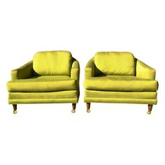 Image of Vintage Mid Century Green Silk Club Chairs - Pair - $400