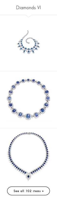 """""""Diamonds Vl"""" by mehrak ❤ liked on Polyvore featuring jewelry, necklaces, 18k diamond necklace, 18k yellow gold necklace, 18 karat gold necklace, 18k necklace, sapphire necklace, accessories, handcrafted jewelry and sapphire jewelry"""