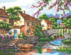 Dimensions Paint-by-Number   VILLAGE CANAL #decor #DIY #crafts