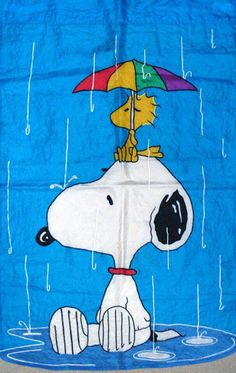 Snoopy and Woodstock in the rain