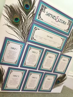 Art Nouveau Peacock Feather Wedding Table Plan in Teal & Violet