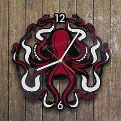 Decorative Octopus Vinyl Wall Art Hanging Home Decor Clock Life Sculpture