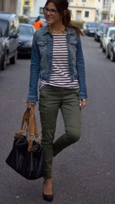 Comfy and soft liverpool jean jacket, striped long sleeved t-shirt and army green pants. Perfect for Fall Stitch Fix. Would like to try olive pants, but like the entire outfit Mode Outfits, Casual Outfits, Fashion Outfits, Fashion Hair, Navy Blazer Outfits, Khaki Pants Outfit, Jeans Outfit For Work, Fashion Ideas, Outfit Jeans