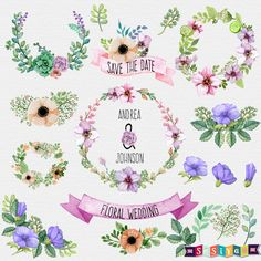 Save the Date Floral Wedding Ornaments Design Elements Digital ClipArt cards Invitation WS435 Buy 1 Get 1 Free INSTANT DOWNLOAD by SasiyaDesigns on Etsy
