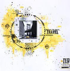 Coucou, Une envie de voyage ??? c'est à New-York que je vous emporte aujourd'hui avec cette page patouille tout en jaune et noir : Après avoir travaillé mon fond en aquarelle avec un be…