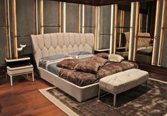 Ulivi Salotti - Upholstered in fine nubuck leather bed MOLLIE with bed end bench | Masha Shapiro Agency