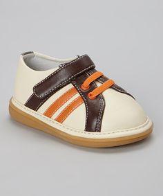 Another great find on #zulily! Brown Stripe Sporty Squeaker Sneaker by Wee Squeak #zulilyfinds