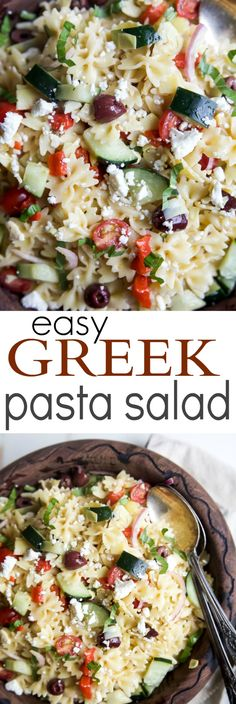 Simple Greek Pasta Salad with cherry tomatoes, artichokes, olives, red onion, cucumber, feta and a homemade dressing! The perfect summer side dish for your next party - I guarantee it will be the first dish to go! | joyfulhealthyeats...