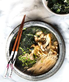 Miso soup with mushrooms. Dashi broth made from kombu and bonito ...