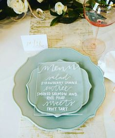 FESTIVAL BRIDES | Sheer Delight Acrylic Wedding Decor Details and Inspiration - perspex duck egg blue wedding menu place setting