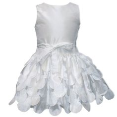 Drop Waist Flutter Skirt by Susanne Lively: White dress with flutter detail and drop waist with bow, $138