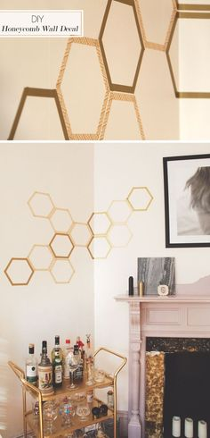Cheap Art Washi Tape Ideas | DIY Honeycomb Decal by DIY Ready at http://diyready.com/100-creative-ways-to-use-washi-tape/