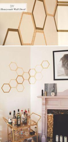 Cheap Art Washi Tape Ideas | DIY Honeycomb Decal by DIY Ready at http://diyready.com/100-creative-ways-to-use-washi-tape/