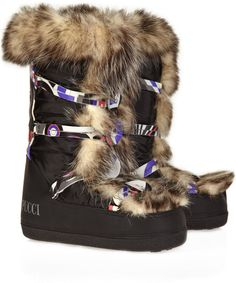 Hello Après - Boots to Love! Emilio Pucci Brown Gene Fur Snow Boots