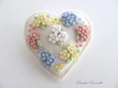 Felt Heart Pin via Etsy
