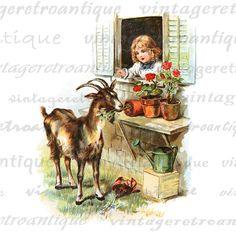 Mischievous Goat Printable Digital Image Color Illustration Download Graphic Vintage Clip Art 18x18 HQ 300dpi No.2067 @ vintageretroantique.etsy.com