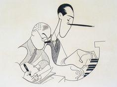 Hirschfeld, the Line King, was the MAN - George & Ira Gershwin Satire, Pop Art, Celebrity Caricatures, Black And White Portraits, Comic Artist, Line Drawing, Creative Art, Illustration Art, Art Illustrations