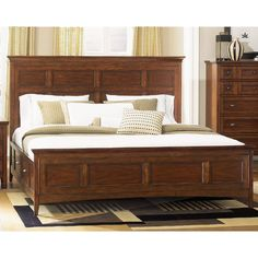 Now at RC Willey, this casual king storage bed is crafted of cherry veneers and features a deep cherry finish. Notice the antique brass pulls off-set by the stunning finish. Refined in form, the Harrison collection will add grace and tradition to your home. Includes headboard, footboard, and storage rails.