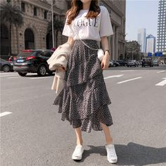 Summer women midi skirts boho bohemian ruffles ladies beach holiday polka dot layer flare high waist skirt mode Summer Women Midi Skirts Boho Bohemian Ruffles Ladies Beach Holiday Polka Dot Layer Flare High Waist Skirt Size One Size Color Stone black Korean Girl Fashion, Korean Fashion Trends, Ulzzang Fashion, Look Fashion, Fashion Boots, Fashion Ideas, Korean Airport Fashion Women, Korean Fashion Summer Street Styles, Korean Fashion Summer Casual