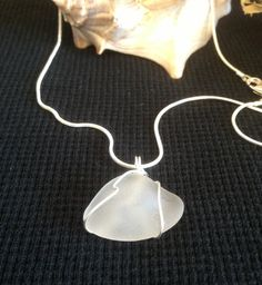 """Frosted white sea glass pendant with 18"""" silver chain - handmade, recycled, eco-friendly #silverandseajewelry #gifts"""