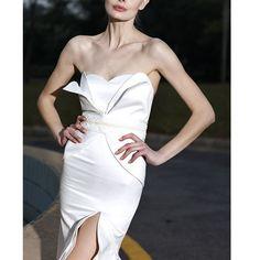 White Strapless Mermaid Roaring Twenties Style Flapper Evening Wedding Dresses SKU-122036