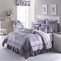 Donna Sharp Lavender Rose King Quilt - American Heritage Textiles soft and inviting, quilted cotton bedding collection adds a charming touch to any room. Delicate floral and gingham fabrics in soft lavendar, periwinkle and white are arran Bed Sets, Cotton Bedding, Quilt Bedding, Twin Quilt, Purple Bedding, Lavender Bedding, Quilted Bedspreads, Quilt Sizes, Queen Quilt