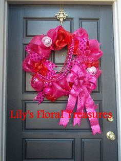 Valentine's Day Wreath  Red and Fuschia by LilysFloralTreasures, $75.00