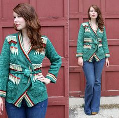 Vintage Jade Geometric Wrap Sweater