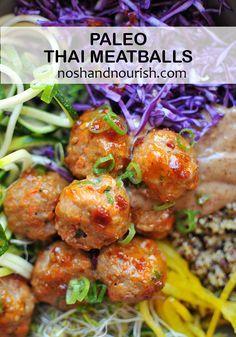 paleo thai meatballs   paleo meatballs   thai meatball zoodle bowl   lexi's clean kitchen cookbook   easy turkey meatballs