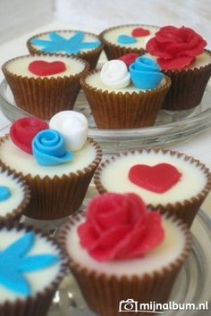 Cupcake Rood Wit Blauw