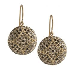 Disc Earrings with Cognac Diamonds - A new take on our classic Disc Studs - these are perfect for someone who likes a little extra pizazz in her ears! $4950 at @The Squash Blossom Vail