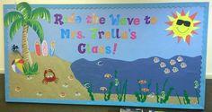 """Ride The Wave To Third Grade!"" B2S Bulletin Board Idea"