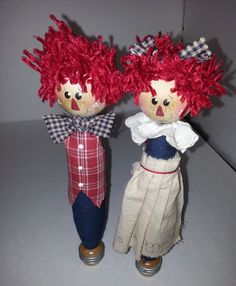 Vintage Wooden Sewing Spindle Dolls  Raggedy Ann And by RosiesHut, $30.00