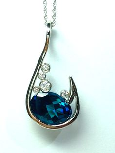 Fish Hook jewelry /Topaz 14k white gold Jewel,  Kyle Campbell designs, www.campbellsjeweler.com