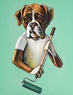 8x10 Boxer Painter art print by ChrisMcDanielDesign on Etsy