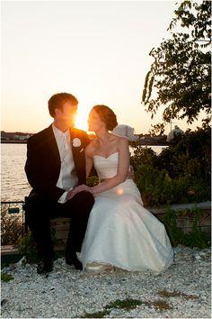 Rhode Island wedding, bride and groom, sunset