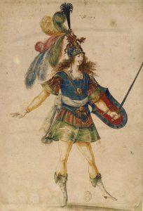 Mollier/Benserade, Ballet Royal de la Nuit, 1653: Louis XIV au bouclier (Costume design H. de Gissey)