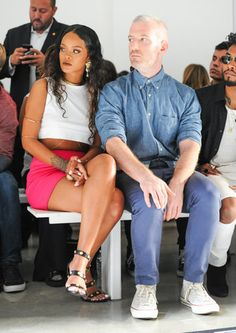 Rihanna and Mel Ottenberg at the Versus Versace Spring 2015 runway show. Source: Billy Farrell/BFAnyc.com