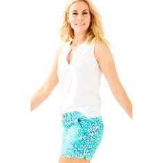 """Lilly Pulitzer Lilly Pulitzer 5"""""""" Buttercup Scallop Hem Short ($68) ❤ liked on Polyvore featuring shorts, lilly pulitzer shorts, scalloped edge shorts, short shorts, lilly pulitzer and scalloped shorts"""