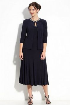 a5495c4b8a32f Modest Chiffon Natural Crystals Zipper Navy Tea Length Mother of the Bride  Dresses With Jackets Mothers